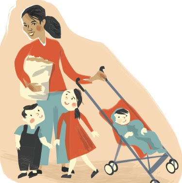 nanny with 3 children