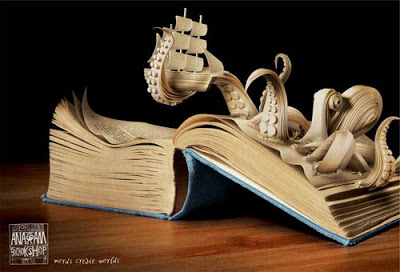 Octopus book sculpture